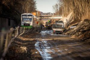 Gleis-Bauarbeiten bei Weimar